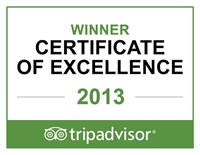 Trip Advisor Certificate of Excellence Winner 2013
